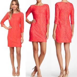 VINCE CAMUTO Women's Lace Sheath Dress in Coral